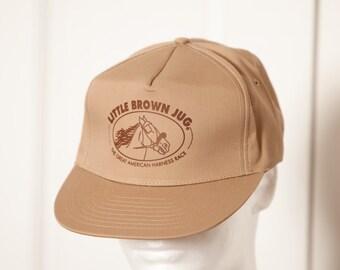 Vintage LITTLE BROWN JUG Great American Harness Race Trucker Hat - Khaki - adjustable