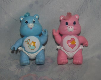 """Vintage Care Bears PVC Articulated Figure - Baby Hugs and Baby Tugs - Pink and Blue Bears, Diaper - 3"""" Tall"""