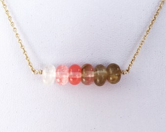watermelon tourmaline bar necklace