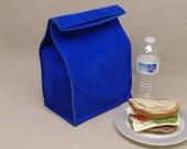 Large Leather Lunch Bag - Royal Blue - It's fun, it's leather, it's a great conversation starter
