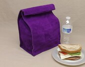 Large Leather Lunch Bag - Purple - It's fun, it's leather, it's a great conversation starter