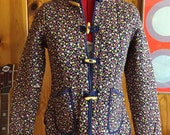 70's Asian patted jacket with flowers xs s