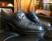 Vintage 1970's funky petrol blue platform oxfords shoes size 8.5 US 39 EU