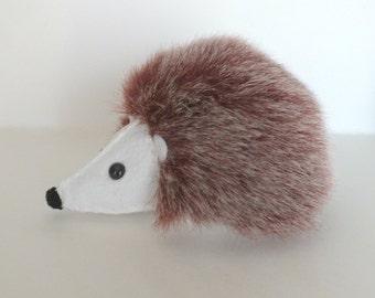 Hedgehog Plush - Brown Faux Fur