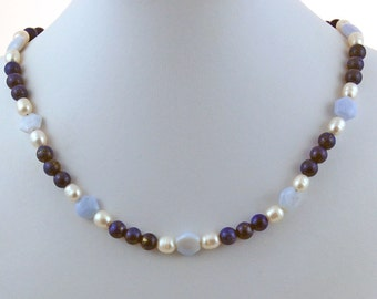 Lapis Chalcedony Pearl Natural Stone Designer Choker Necklace
