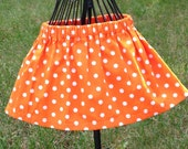 Sale-Ready to ship Halloween or Thanksgiving Orange and White Polka Dot Twirl Skirt for [Toddler