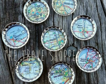 Michigan Map Magnets - Choose your city! We can do more states now, too! (Oregon, Illinois, Alaska, and more! Contact us!)