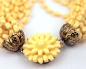 vintage multi strand necklace // flower clasp