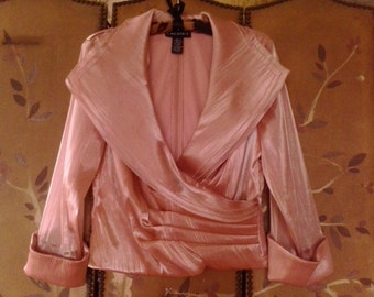 90s Cachet rose pink silky crop crossover jacket