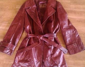 70s oxblood leather jacket with belt tie by Skin Gear
