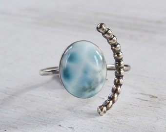 Larimar Half Moon Ring, Sterling Silver Beaded Arc Ring, Adjustable Open Band Ring, Gemstone Ring, Blue Stone Ring