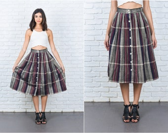 Vintage 80s Gray Blue Retro Skirt Plaid Striped Pleated High Waist XS 7403 vintage skirt 80s skirt gray skirt retro skirt high waist skirt
