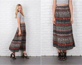 southwestern striped Skirt Vintage 80s Pleated Gray Green Maxi Small Medium S M 8153