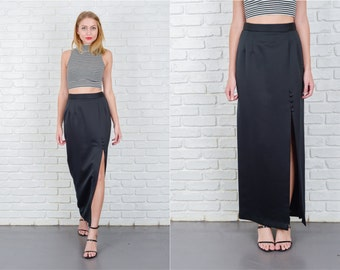 Vintage 80s Black Retro Skirt Maxi High Waist High Slit Small S 5547 vintage skirt 80s skirt black skirt retro skirt maxi skirt small skirt