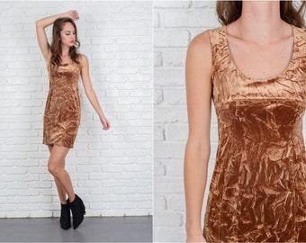 Vintage 90s Brown Crushed Velvet Mini Dress Sleeveless Wiggle XS 5569