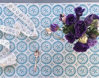 Blue Eyelet linen table runner