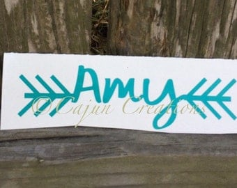 Name decal, car decal, personalized decal, custom decals, decals for car, vehicles decal, arrow decal, vinyl decal, arrow ends on each side.