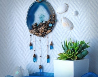 Mermaid Yemaya Agate crystal Wall decor dreamcatcher suncatcher wall hanging