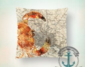 Baltimore Map Throw Pillow | Maryland Crab Red Home Decor | Indoor or Outdoor Available