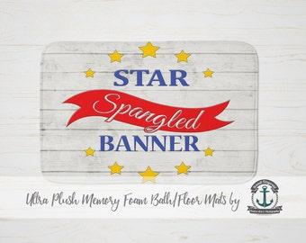 "Plush Bath Mat 34x21"" - Star Spangled Banner Patriotic American - Plush Memory Foam + Mold Resistant"