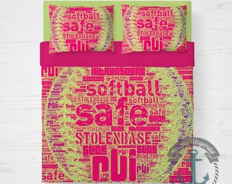 Softball Duvet Set | Girls Room Sports Decor Pink Softball Typography | Duvet Cover + 2 Standard Pillow Cases | Made in the USA