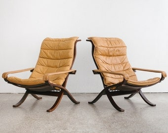 Mid Century Westnofa Ingmar Relling Flex Chairs / Leather