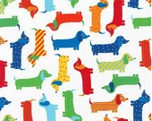 Bright Dachshunds (Primary) from Robert Kaufman's Urban Zoologie Collection by Ann Kelle