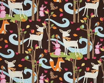 Woodland Scenic on Brown from Timeless Treasure's Fawn Collection