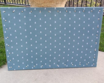 CorkBoard PinBoard Cork Bulletin Pin Fabric Message Board 23x35, Jade Green Fabric with White Arrows, Brushed Nickel Nail Heads & Pushpins
