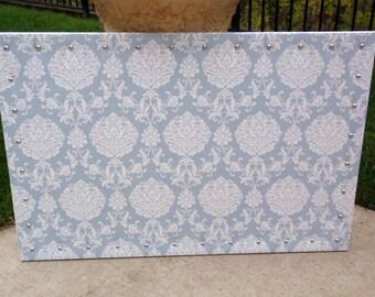 "CorkBoard PinBoard Cork Bulletin Dream Pin Board 23"" x 35"" in a Blue Gray / Grey & White Damask Print Fabric with Shiny Chrome Nail Heads"