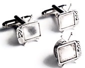 SALE Silver Television Cufflinks & Tie Tack- Men's Handcrafted Retro TV Cuff Links Set- Gift Wedding Groom Prom