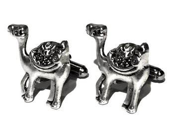 SALE Silver Camel Cufflinks, Men's Handcrafted Asian Desert Humped Animal Cuff Links- Guys Prom Groom Wedding, Mans Gift
