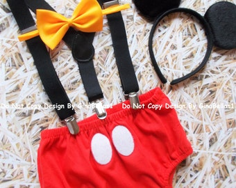 Mickey Mouse Birthday cake smash outfit FREE EARS Suspenders diaper Cover yellow bowtie clubhouse baby costume photo 9 12 18 24 toddler SALE