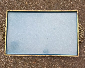 Vintage KYES Moire Blue Glaze MCM Tray