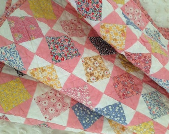 Vintage Baby - 1930's Reproduction Pink-Blue-Yellow-White in a Vintage Pattern Crib Quilt - FREE Shipping