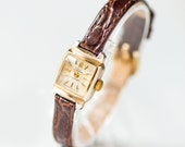 Art deco style women's watch, square watch Glory, gold shade lady's watch, tiny cocktail watch, premium leather strap new