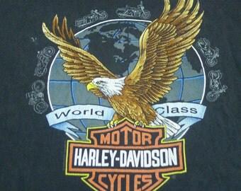 Vintage 90s 1992 Harley Davidson Fletcher's Clearwater Florida Black Shirt Large