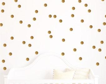 Gold Dot Wall Decal -  Polka Dot Wall decals - Nursery Decor - Polka Dot Design Bundles