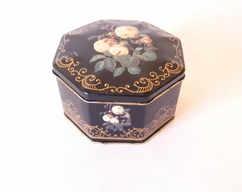 Vintage Tin Candy Cookie Tin Box  Black Floral Tin Box Hinged Tin Cottage Chic Roses Decor Storage Work Floral Box Craft Sewing Storage