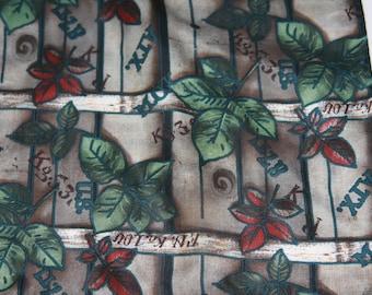 """Silk Scarf 10x54"""" Long Grays & Greens Leaf Design"""