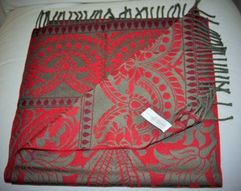 """ANICHINI Wool Scarf in Olive Green & Deep Red 15 x 66"""" Long - Made in Italy"""