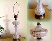 HEART SALE 1930s Art Nouveau Table Lamp - Gorgeous Frosted Glass - Gold Gilt Floral Design - Brass