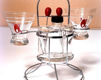 FALL SALE 60s COUPLES Martini Set - Vintage Martini Glasses - Martini Olive Picks - Martini Shaker Bottle - Madmen Beauty