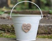 Here Comes My Mommy Flower Girl Basket Pail Shabby Chic Personalized