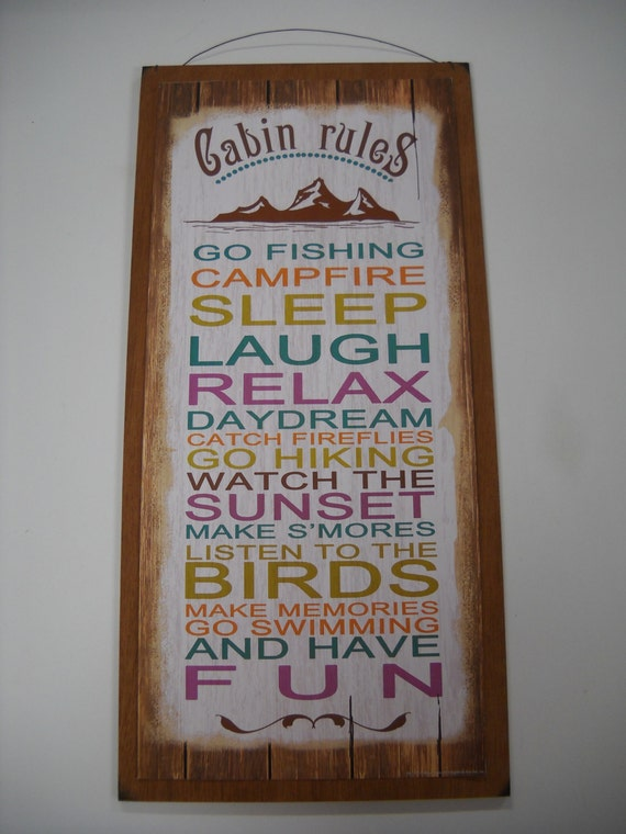 Items similar to cabin rules wooden wall art sign wood for What are the rules for go fish