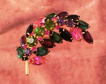 Juliana Style Dimensional Rhinestone Fruit Salad Pin/Brooch
