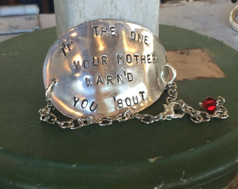 Stamped Spoon Bracelet - Upcycled Spoon - I'm The One Your Mother Warn'd You 'Bout - Red Glass Bead (02723-LV)
