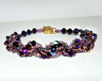 Dark Purple Spiral Bracelet, beadwork seed bead and  crystal, rich jeweltone color, fancy gold strong magnetic clasp, woman's gift , 7 1/2
