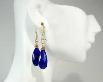 Lapis & Gold Fill Earrings, 14K Gold, wire wrapped, Briolette 10 x 22 mm, deep blue, quality gemstone, womens gift under 40,cobalt blue