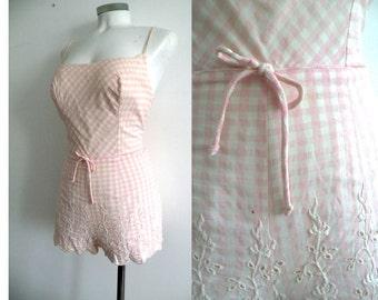 50s Pink Gingham Cotton Playsuit Swimsuit Romper - S M